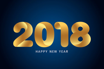 Happy new year 2018 text design. Modern golden text design on blue background.