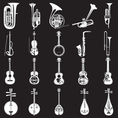Vector set of musical instruments templates in flat style