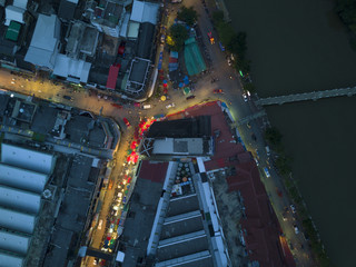 CHIANG MAI,THAILAND - 7 August, 2017 , Aerial view at Warorot night Market or Kad Luang, is largest markets in Chiang Mai, on August, 7, 2017 in Chiang Mai province Thailand.
