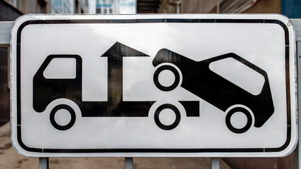 Road sign tow truck