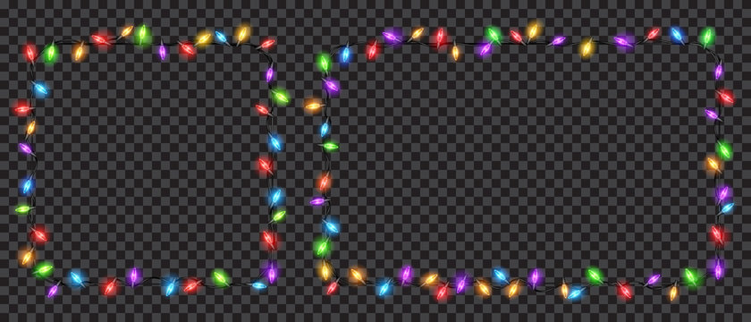 Christmas translucent fairy lights square and rectangle shaped. Transparency only in vector file