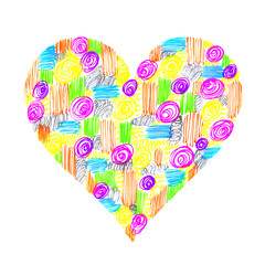 Abstract heart with colorful pattern