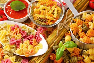 Assorted coloured pasta