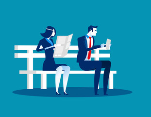 Old and Young on bench. Concept business vector illustration.