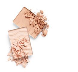 Crushed face powder isolated on white background