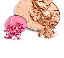 Face powder and pink eye shadow