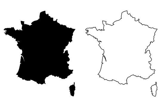 France map vector illustration, scribble sketch  France map