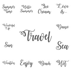 Travel More Vintage Brush Hand Lettering On White Background. Typographic Print Poster. T-Shirt Hand Lettered Design. Vector Illustration
