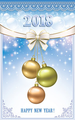 New Year background 2018. Christmas decorations