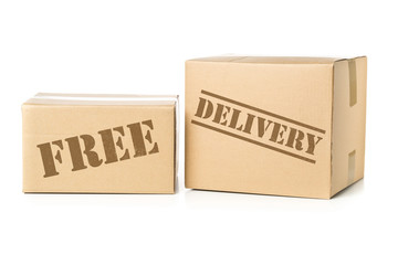 Two carton parcels with Free Delivery imprint