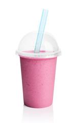Violet smoothie in plastic transparent cup