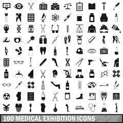 100 medical exhibition icons set, simple style
