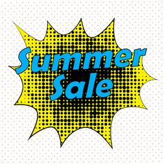 Pop Art style comic summer sale concept vector illustration.
