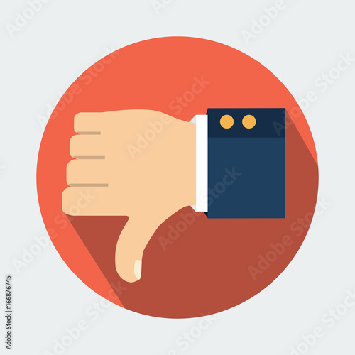 Vector Illustration Thumb Down Vector Icon Isolated On A