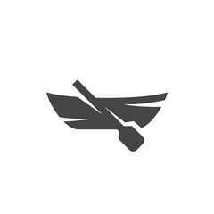 Boat with paddle. Vector logo on white background