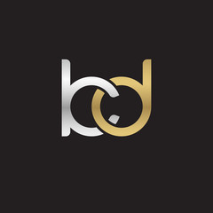 Initial lowercase letter kd, linked overlapping circle chain shape logo, silver gold colors on black background