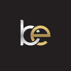 Initial lowercase letter ke, linked overlapping circle chain shape logo, silver gold colors on black background