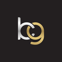 Initial lowercase letter kg, linked overlapping circle chain shape logo, silver gold colors on black background