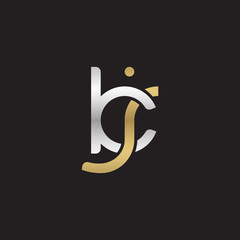 Initial lowercase letter kj, linked overlapping circle chain shape logo, silver gold colors on black background