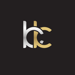 Initial lowercase letter kk, linked overlapping circle chain shape logo, silver gold colors on black background
