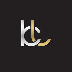 Initial lowercase letter kl, linked overlapping circle chain shape logo, silver gold colors on black background