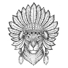 Oriental cat with big ears Wild animal wearing indiat hat with feathers Boho style vintage engraving illustration Image for tattoo, logo, badge, emblem, poster