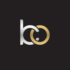 Initial lowercase letter ko, linked overlapping circle chain shape logo, silver gold colors on black background