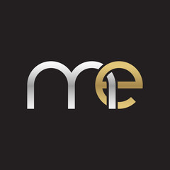 Initial lowercase letter me, linked overlapping circle chain shape logo, silver gold colors on black background
