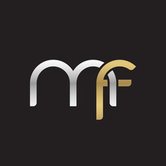 Initial lowercase letter mf, linked overlapping circle chain shape logo, silver gold colors on black background