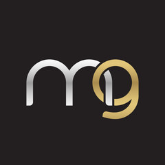 Initial lowercase letter mg, linked overlapping circle chain shape logo, silver gold colors on black background