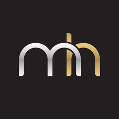 Initial lowercase letter mh, linked overlapping circle chain shape logo, silver gold colors on black background
