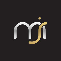 Initial lowercase letter mj, linked overlapping circle chain shape logo, silver gold colors on black background