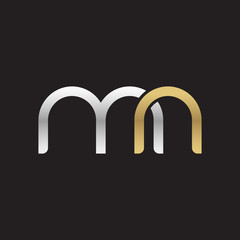 Initial lowercase letter mn, linked overlapping circle chain shape logo, silver gold colors on black background