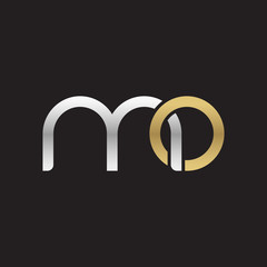 Initial lowercase letter mo, linked overlapping circle chain shape logo, silver gold colors on black background