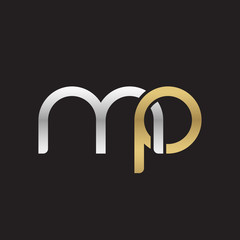 Initial lowercase letter mp, linked overlapping circle chain shape logo, silver gold colors on black background