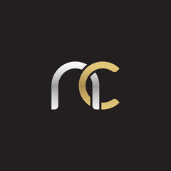 Initial lowercase letter nc, linked overlapping circle chain shape logo, silver gold colors on black background