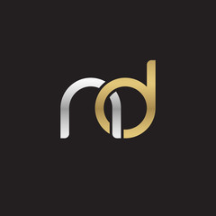 Initial lowercase letter nd, linked overlapping circle chain shape logo, silver gold colors on black background
