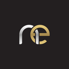 Initial lowercase letter ne, linked overlapping circle chain shape logo, silver gold colors on black background