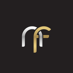 Initial lowercase letter nf, linked overlapping circle chain shape logo, silver gold colors on black background