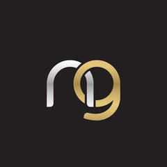 Initial lowercase letter ng, linked overlapping circle chain shape logo, silver gold colors on black background