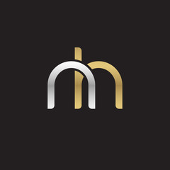 Initial lowercase letter nh, linked overlapping circle chain shape logo, silver gold colors on black background