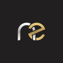 Initial lowercase letter nz, linked overlapping circle chain shape logo, silver gold colors on black background