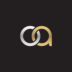 Initial lowercase letter oa, linked overlapping circle chain shape logo, silver gold colors on black background