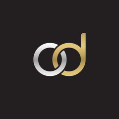 Initial lowercase letter od, linked overlapping circle chain shape logo, silver gold colors on black background