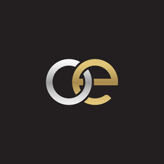 Initial lowercase letter oe, linked overlapping circle chain shape logo, silver gold colors on black background