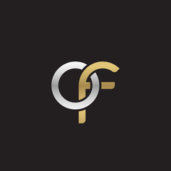 Initial lowercase letter of, linked overlapping circle chain shape logo, silver gold colors on black background