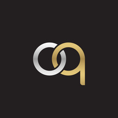 Initial lowercase letter oq, linked overlapping circle chain shape logo, silver gold colors on black background