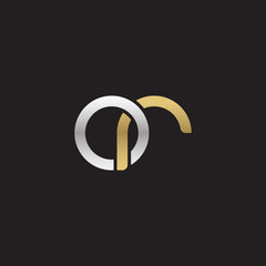 Initial lowercase letter or, linked overlapping circle chain shape logo, silver gold colors on black background