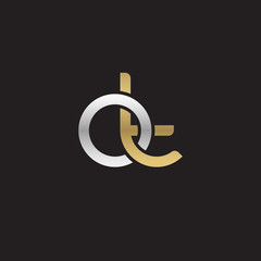 Initial lowercase letter ot, linked overlapping circle chain shape logo, silver gold colors on black background