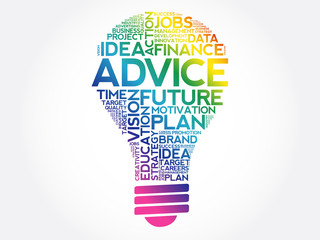 ADVICE bulb word cloud collage, business concept background